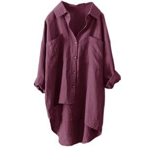 Damen Baumwolle Leinen Langarm Tasche Mittellanges Hemd T-Shirt,Farbe: Rotwein,Größe:5XL