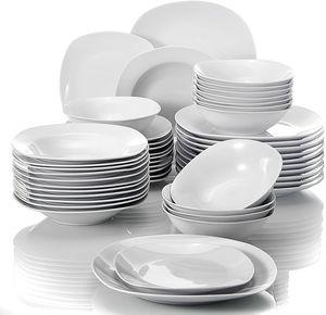MALACASA, Serie Elisa, 48 Tlg. Porzellan Tafelservice Kombiservice Geschirrset, 12 Dessertteller, 12 Suppenteller, 12 Flachteller und 12 Müslischäle für 12 Personen