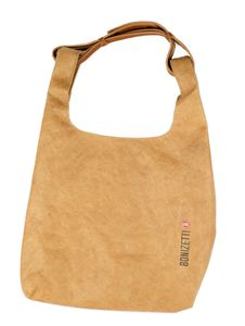 Bonizetti Damentasche DARLING - Handtasche aus Kraftpapier Tragegriff aus echtem Leder Karamell