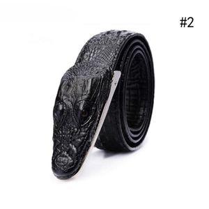 Schwarz (B) zweistöckiges Leder Krokoprägung Ledergürtel für Männer Casual Ledergürtel Ledergürtel Großhandel