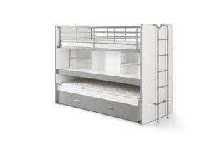 VIPACK Etagenbett Bonny l Mit Schreibtisch l 90 x 200 l Weiß Silber l 2 Schlafplätze