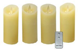 4x LED echtwachs Kerzen weiß flammenlos Fernbedienung Stumpenkerze Adventskranz