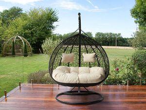 Mirjan24 Hängesessel Opam, Zweisitzer Hängekorb, Stilvoll Gartensessel mit Stahlskelett (Farbe: Schwarz / Kissen: Beige)