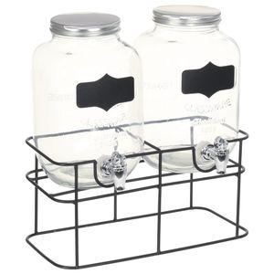 vidaXL Getränkespender 2 Stk. mit Ständer 2 x 4 L Glas