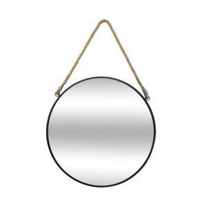 Spiegel in Metallrahmen fertig mit Kordelzug Griff elegante Dekoration für Wohnzimmer - Durchmesser 37 cm, Farbe:schwarz