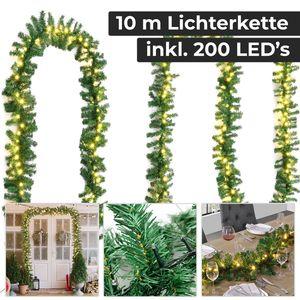 Juskys Weihnachtsgirlande 10m mit Beleuchtung – Lichterkette mit 200 LED warm-weiß strombetrieben - Indoor Tannengirlande künstlich – Weihnachtsdeko