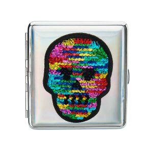 ZIGARETTENETUI Pailletten Smile Schädel für 20 Zigaretten Etui Wendepailletten Sequin Zigarettenbox Case Box 6  (Schädel)
