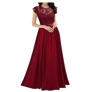 Chiffon Kleid Chiffon Nähte Spitze Kleid Brautjungfern Abendkleider Frauen Größe:XXL,Farbe:Rot
