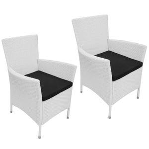 vidaXL Gartenstühle 2 Stk. mit Polstern Poly Rattan Cremeweiß