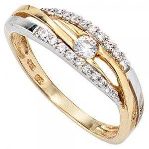 JOBO Damen Ring 333 Gold Gelbgold Weißgold kombiniert mit Zirkonia Goldring Größe 60