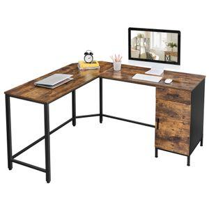 VASAGLE Eckschreibtisch, L-förmiger Computertisch, Bürotisch mit Schrank und Schublade, Arbeitszimmer, platzsparend, vintagebraun-schwarz LWD74X