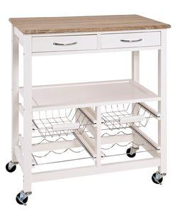 Haku Küchenwagen, weiß-eiche hell - Maße: 68 cm x 37 cm x 84 cm; 40331