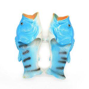 Herren Damen Kreative Pantoffeln Fisch Hausschuhe Strand Sommer lässig Sandalen, Farbe:Blau; Schuhgröße:44/45