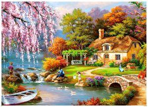 Puzzle 1000 Teile Landschaft Romantisches Cottage 1000 Teile Kirschblüten Puzzle 1000 Teile Kinderpuzzle Spiele ab 8 Jahren, Spielzeug für Mädchen Jungen Teenager