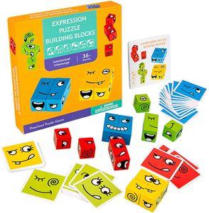 NightyNine Montessori Holzwürfel Spielzeug, Puzzle Building Cube, Emojie-Würfel-Spiel, Zauberwürfel-Bausteine, Montessori Spielzeug, Gesicht ändern Würfel, Denk-Training Lernspielzeug, Geschenk für Kinder Vorschule