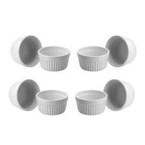 ToCi 8er Set Ofenschalen Creme Brulee Formen Ø 9 cm, weiss, aus Keramik