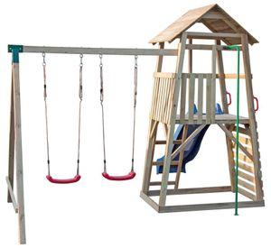 Kletterturm mit Rutsche und Doppelschaukel, Kletterwand und Rutschstange