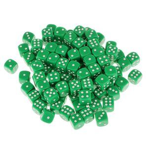 16mm 100pcs Acryl SECHSECK Punkt-Würfel-Partei-Spiele Würfel-Grün Farbe Grün 16 * 16 * 16mm