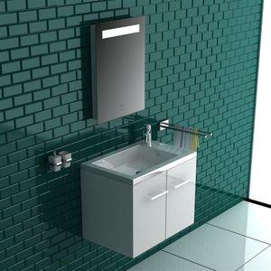 Alpenberger Komplett Badmöbel- Set 50 x 33 cm   Waschbecken mit integriertem Überlauf aus Mineralguss + Unterschrank mit Softclose Funktion + Spiegel mit LED-Beleuchtung und Touch-Schalter Hochglanz Weiß