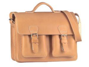 Ruitertassen kleine Aktentasche 38cm Herren Damen Leder Schultasche natur Lehrertasche 2 Fächer