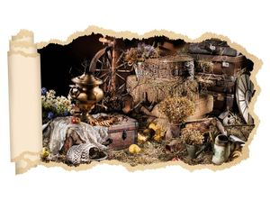 3D Wandtattoo Retro alt antik Schatz old Antike Sachen Tapete Wand Aufkleber Wanddurchbruch Deko Wandbild Wandsticker 11N2150, Wandbild Größe F:ca. 162cmx97cm