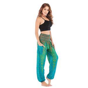 Polyester-Pluderhosen-Smocked-Taille-bunte Sommer-beiläufige Art und Weisefrauen Hellgrün Pfau wie beschrieben