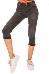 Damen Capri Jeans Shorts Stretch Skinny 3/4 Bermuda Kurze 5 Pocket Hose Weich Denim Casual , Farben:Grau, Größe:44