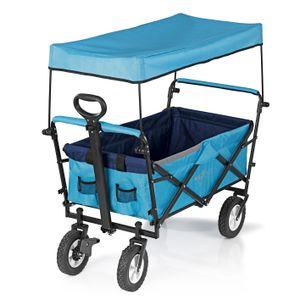 Bollerwagen Faltbar Handwagen Klappbar Strandwagen Dach Faltwagen Offroad Blau