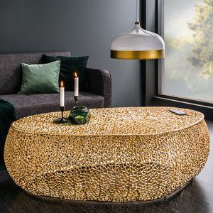 cagü: Couchtisch [NUBE] Gold aus Aluminium im Aststruktur-Design handgefertigt 122cm Oval