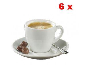 Esmeyer 6 Espresso-Tassen 0,10 ltr mit Untertasse - aus weißem, schweren Porzellan Form BISTRO , 433-214