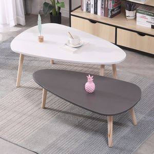 2er Set Beistelltisch Retro Couchtisch Kaffeetisch Wohnzimmer Design  Tisch Weiß+Grau