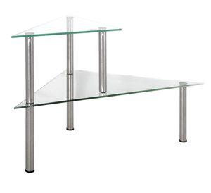 Küchenregal 2 x Glasböden Gewürzregal Eckregal Edelstahl Glasregal Küchenablage Küchen-Glas-Regal
