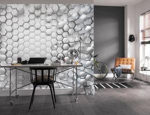 "Komar Fototapete 3D ""Titanium"", silber, weiß, 368 x 254 cm"