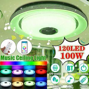 Meco Led Deckenleuchte mit bluetooth Lautsprecher und Fernbedienung, 100W RGB Musik Deckenlampe Farbwechsel mit APP-Steuerung 110-220V