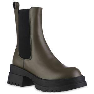 VAN HILL Damen Leicht Gefütterte Plateau Boots Profil-Sohle Schuhe 837843, Farbe: Olivgrün Schwarz, Größe: 39