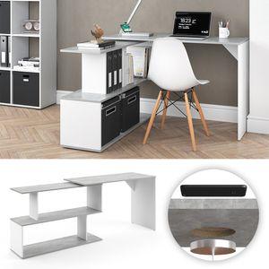 VICCO Eckschreibtisch LEVIA mit QI Ladestation PC Tisch Arbeitstisch Beton