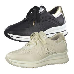 Tamaris Damen Schnürschuhe Sneaker Leder 1-23733-26, Größe:37 EU, Farbe:Schwarz
