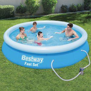 BESTWAY Fast Set Pool Swimmingpool Rund mit Filterpumpe Filter 366x76cm