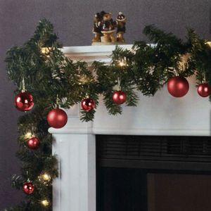 Weihnachtsgirlande 270cm 180 Spitzen 20 Lampen 16 Kugeln, Farbe:Rot