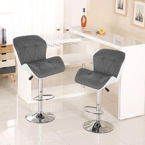 2er-set Barhocker ,Barstuhl Tresenhocker, Kunstleder Höhenverstellbar 360° drehbar (Grau+Weiß)