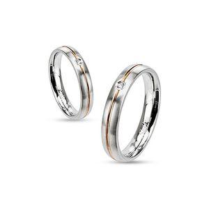 Ring Damenring Verlobungsring Hochzeit Edelstahl Gold Inlay Zirkonia Kristall silber-farben-gold-farben 59 - Ø 18,95 mm