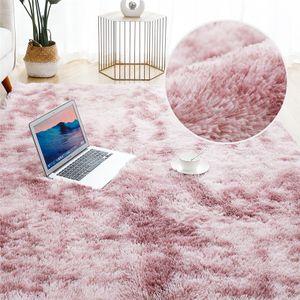 Hochflor Teppich 160x200 cm Langflor Shaggy Teppiche für Wohnzimmer flauschig Bettvorleger Schlafzimmer Outdoor Rosa