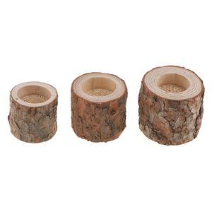 3x Baumstumpf Teelichthalter Landhausstil Kerzenleuchter Kerzenständer Teelicht KerzenTischdekoration Adventskranz aus Holz