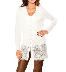 Linea Tesini Damen Designer-Longstrickjacke, wollweiß, Größe:38