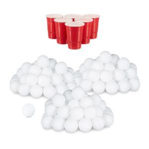 relaxdays 144x Beer Pong Bälle, Plastikbälle, Ping Pong Bälle, Tischtennisbälle, Wurfbälle
