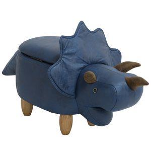 SVITA ANIMAL STORAGE Kinderhocker Tierhocker mit Stauraum gepolsterter Hocker mit Holzbeinen Blau Tier-Motiv Dinosaurier