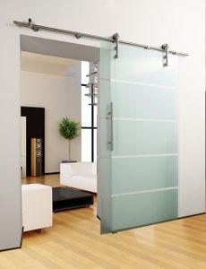 Glasschiebetür Set 5-Streifendesign 10mm x 2050mm x 1050mm Schiebetüre Schiebetür Glastür Innentür Zimmertür