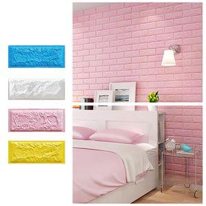 MECO 3D-Wandpaneele Selbstklebend PE Schaum Wandtapete Steinoptik Fototapete Wandaufkleber Schlafzimmer Wohnzimmer Deko Backstein 10 Streifen Pink