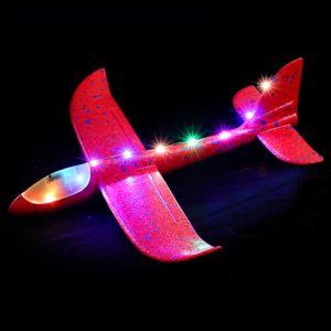 1x Gleitflieger Wurfgleiter mit Licht(Rot),XXL ,Styropor-Flieger, 48cm