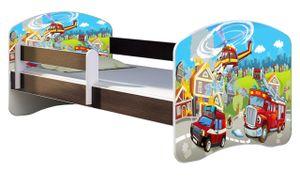 ACMA Jugendbett Kinderbett Junior-Bett Komplett-Set mit Matratze Lattenrost und Rausfallschutz Wenge 36 Feuerwehr 160x80